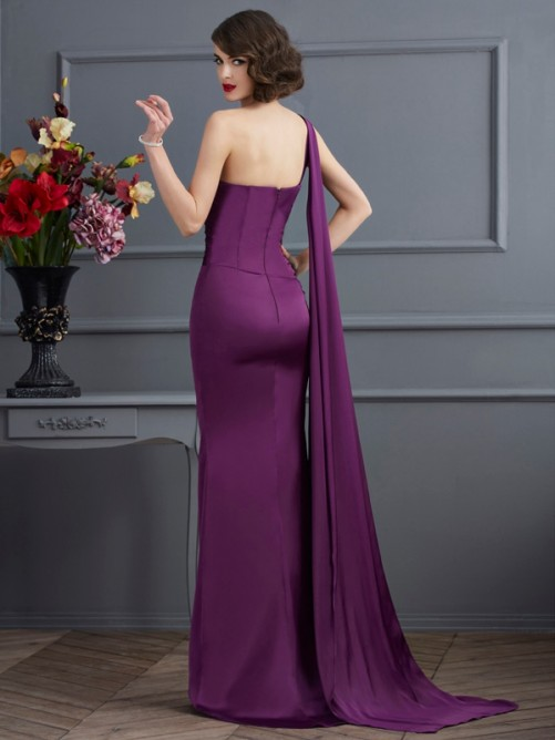 Sheath/Column One-Shoulder Sleeveless Sweep/Brush Train Chiffon Dresses