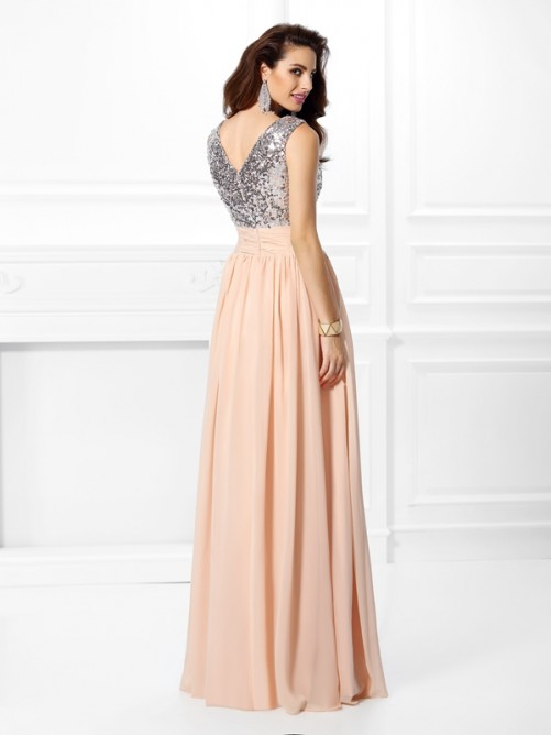 A-Line/Princess V-neck Paillette Sleeveless Floor-Length Chiffon Dresses