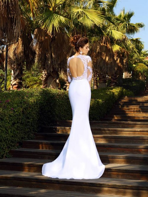 Sheath/Column Scoop Applique Long Sleeves Court Train Satin Wedding Dresses