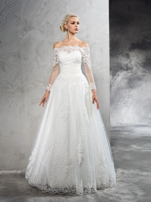 Ball Gown Off-the-Shoulder Lace Long Sleeves Floor-Length Net Wedding Dresses