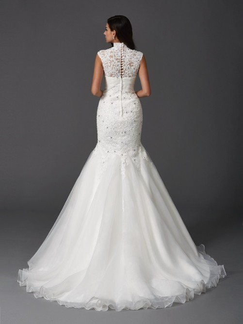 Trumpet/Mermaid High Neck Beading Sleeveless Sweep/Brush Train Organza Wedding Dresses