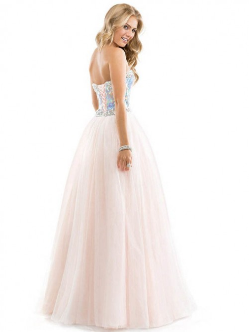 Ball Gown Sweetheart Floor-length Sleeveless Sequin Beading Tulle Prom Dress