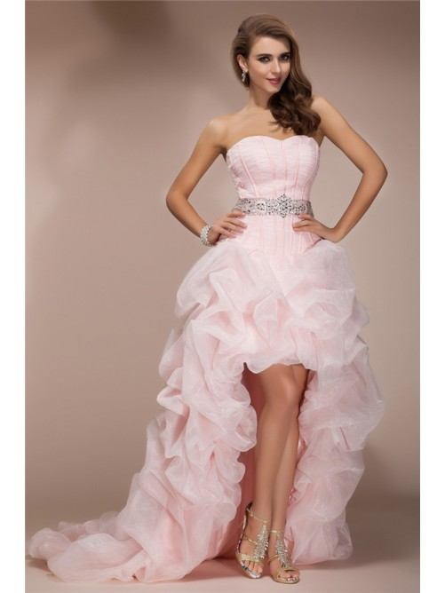 A-Line/Princess Sweetheart Sleeveless Asymmetrical Beading Organza Dresses