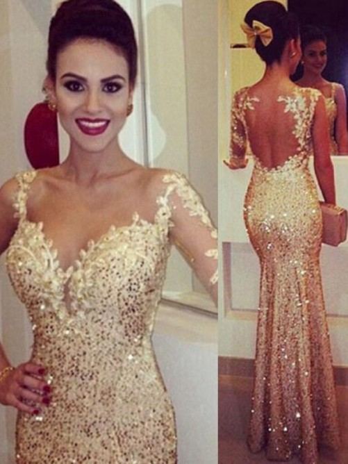 Sheath/Column Straps Long Sleeves Sequin Floor-Length Sequins Dresses