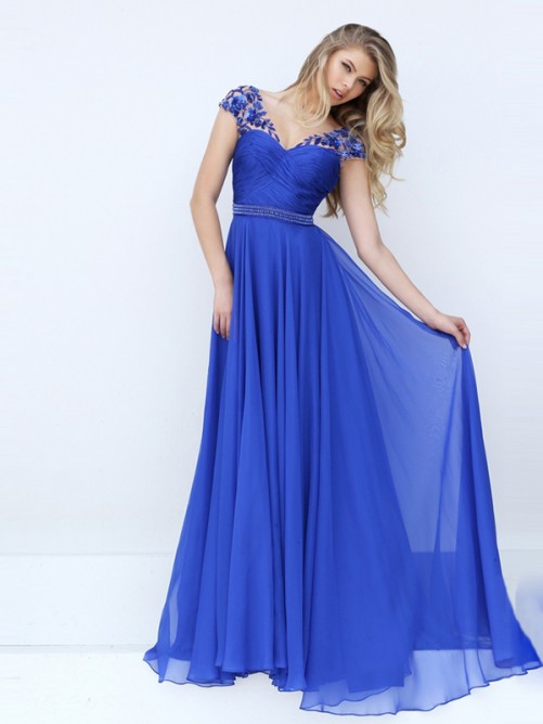 A-Line/Princess Short Sleeves Sweetheart Chiffon Ruched Floor-Length Dresses