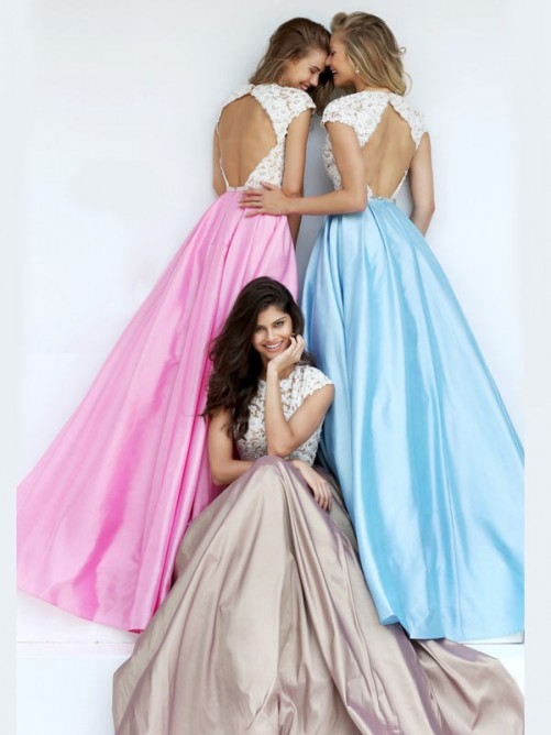 A-Line/Princess Scoop Sleeveless Floor-Length Lace Satin Dresses