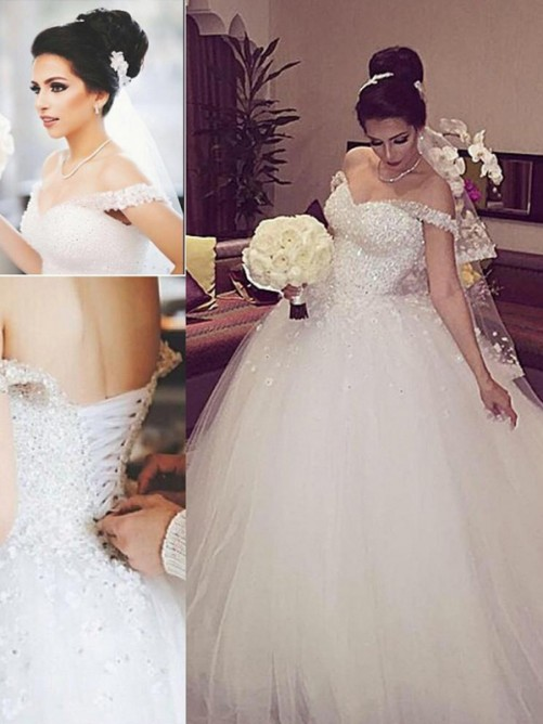 Ball Gown Off-the-Shoulder Sleeveless Lace Court Train Tulle Wedding Dresses