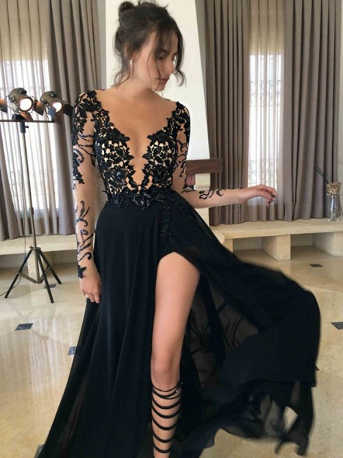 A-Line/Princess Sheer Neck Long Sleeves Lace Floor-Length Chiffon Dresses