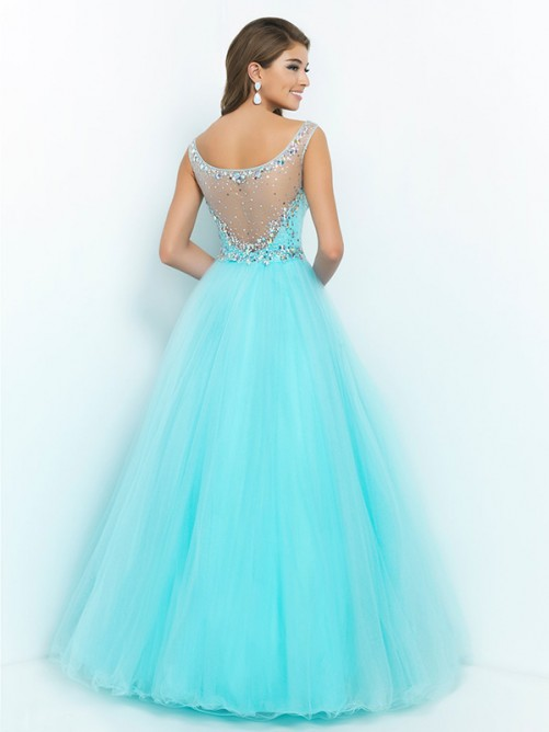 Ball Gown Scoop Sleeveless Embroidery Floor-length Net Dresses