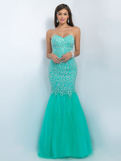 Trumpet/Mermaid Sleeveless Sweetheart Tulle Beading Sweep/Brush Train Dresses