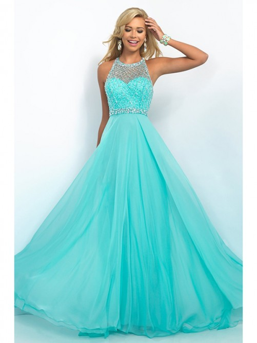 A-Line/Princess Jewel Sleeveless Chiffon Sweep/Brush Train Ruffles Dresses