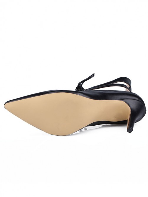 Women's Sheepskin Stiletto Heel Close Toe With Hollow-out Shoes