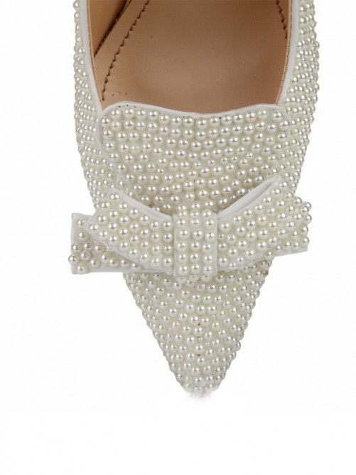Women's Patent Leather Stiletto Heel Closed Toe With Pearl Bowknot Wedding Shoes