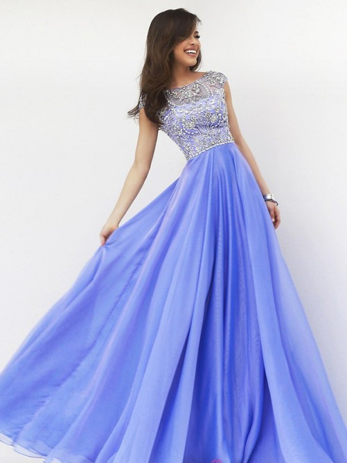 A-Line/Princess Scoop Sleeveless Beading Chiffon Floor-Length Dresses