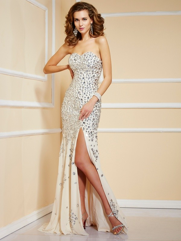 Sheath/Column Sweetheart Beading Sleeveless Sweep/Brush Train Chiffon Dresses