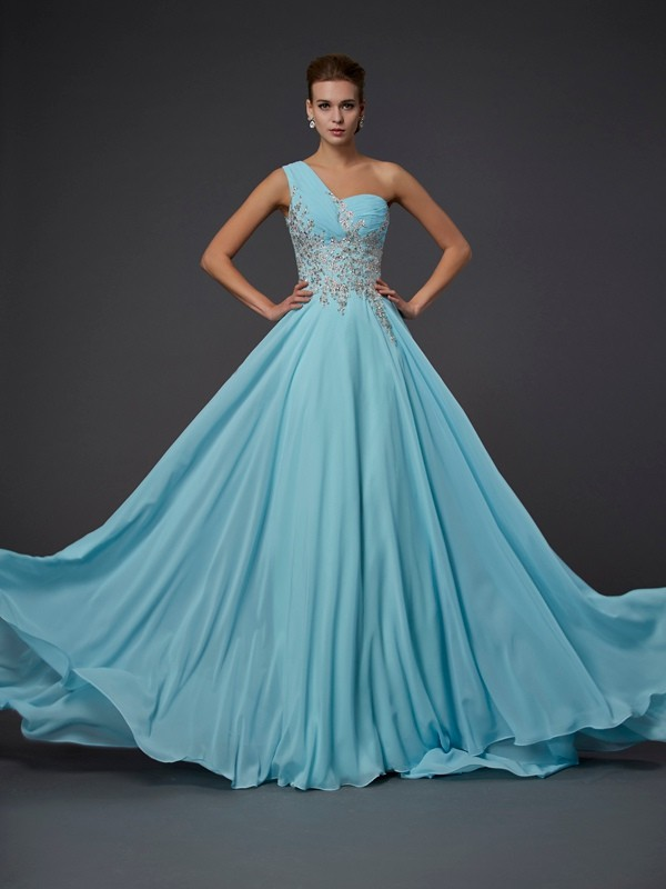 A-Line/Princess One-Shoulder Sleeveless Ruffles Floor-Length Chiffon Dresses