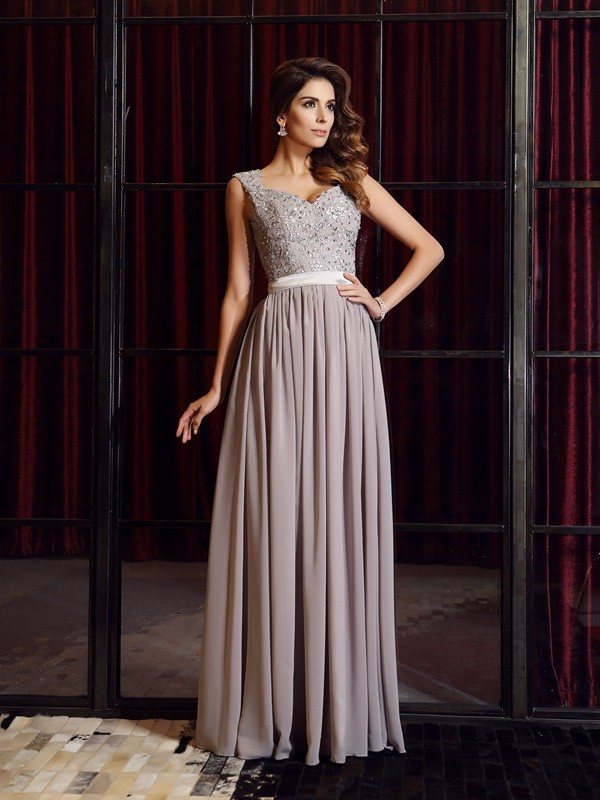 A-Line/Princess Straps Applique Sleeveless Floor-Length Chiffon Dresses