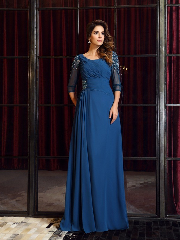 A-Line/Princess Square Ruched 1/2 Sleeves Floor-Length Chiffon Dresses