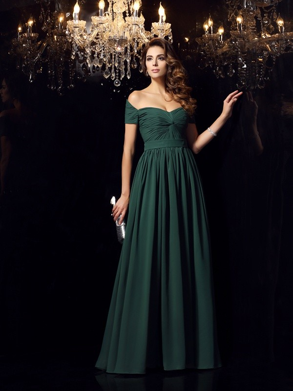 A-Line/Princess Off-the-Shoulder Ruched Sleeveless Floor-Length Chiffon Dresses