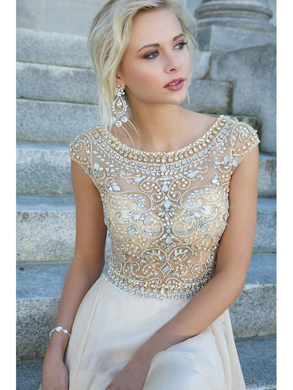 Scoop A-line/Princess Short Sleeves Beading Rhinestone Floor-length Dress