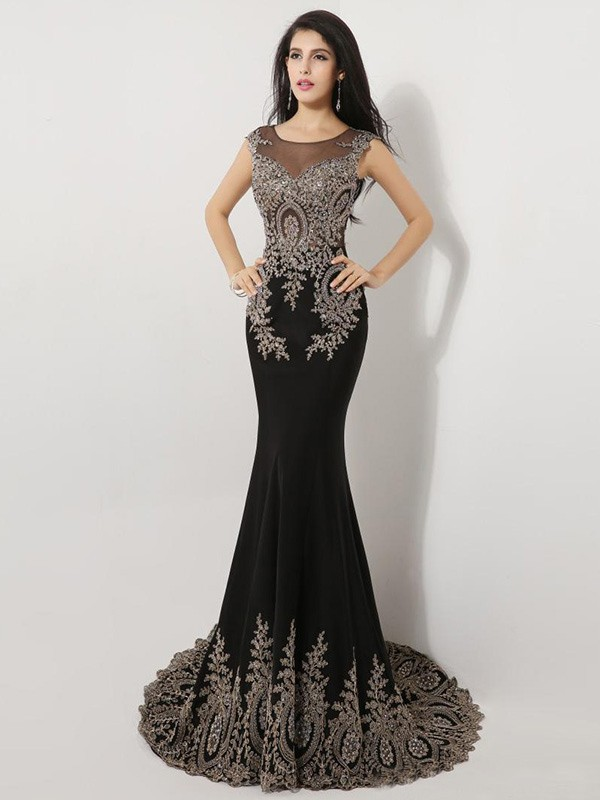 9fc0102da2e Sheath/Column Scoop Sleeveless Beading Court Train Chiffon Dress -  DressyWell South Africa