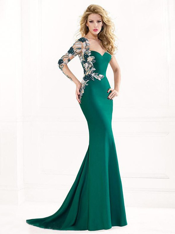 444edf81a4 Trumpet Mermaid Sweetheart Long Sleeves Applique Sweep Brush Train Satin  Dresses - DressyWell South Africa