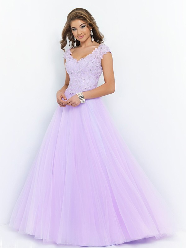 Ball Gown V-neck Sleeveless Beading Floor-length Organza Dresses