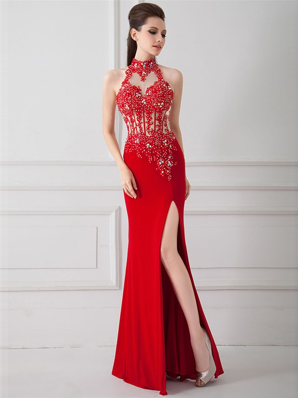 Sheath/Column Sleeveless High Neck Floor-Length Chiffon Beading Dresses