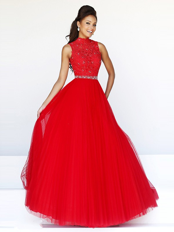 Ball Gown Sleeveless High Neck Floor-Length Tulle Lace Dresses