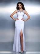 Trumpet/Mermaid Bateau Beading Sleeveless Floor-Length Chiffon Dresses