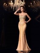 Trumpet/Mermaid Sweetheart Beading Sleeveless Sweep/Brush Train Chiffon Dresses