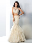 Trumpet/Mermaid Sheer Neck Beading Sleeveless Floor-Length Tulle Dresses