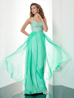 A-Line/Princess Halter Sleeveless Beading Applique Sweep/Brush Train Chiffon Dresses