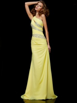 Sheath/Column One-Shoulder Beading Sleeveless Sweep/Brush Train Chiffon Dresses