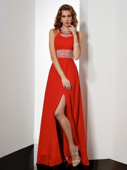 Empire Jewel Sleeveless Acrylic Jewels Floor-Length Chiffon Dresses