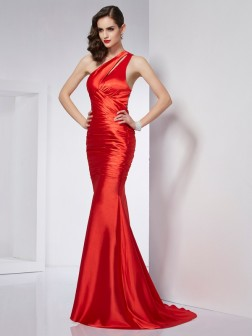 Sheath/Column One-Shoulder Beading Sweep/Brush Train Elastic Woven Satin Dresses