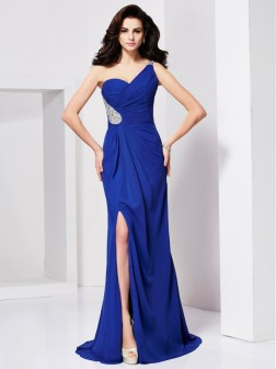 A-Line/Princess One-Shoulder Beading Sleeveless Pleats Sweep/Brush Train Chiffon Dresses
