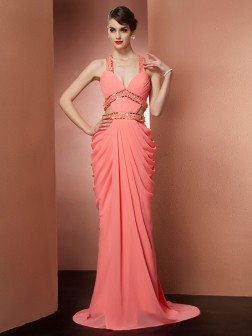 A-Line/Princess Halter Beading Sleeveless Sweep/Brush Train Chiffon Dresses