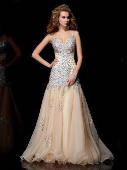 Sheath/Column V-neck Sleeveless Beading Floor-Length Organza Dresses
