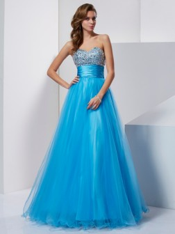 A-Line/Princess Sweetheart Sleeveless Beading Floor-Length Tulle Dresses