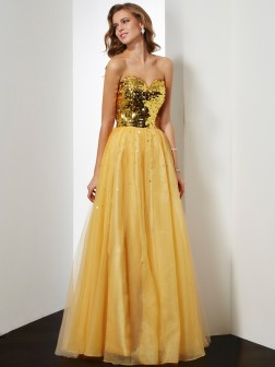 Ball Gown Sweetheart Sleeveless Sequin Floor-Length Organza Dresses