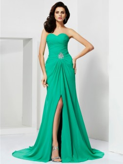 Sheath/Column Sleeveless Sweetheart Beading Sweep/Brush Train Chiffon Dresses