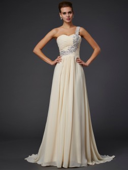 A-Line/Princess One-Shoulder Sleeveless Beading Applique Floor-Length Chiffon Dresses