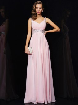 A-Line/Princess Sleeveless V-neck Beading Floor-Length Chiffon Dresses