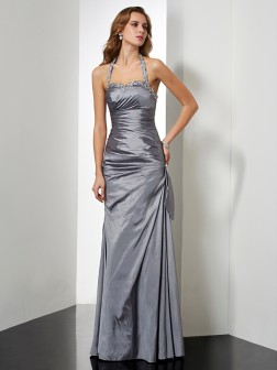 Trumpet/Mermaid Halter Sleeveless Beading Floor-Length Taffeta Dresses