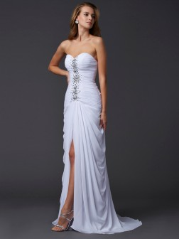 Sheath/Column Sweetheart Sleeveless Sweep/Brush Train Beading Chiffon Dresses
