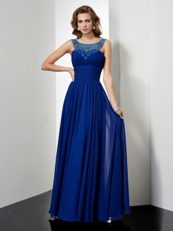 Empire High Neck Sleeveless Beading Floor-Length Chiffon Dresses