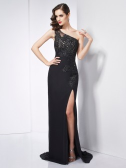 Sheath/Column One-Shoulder Sleeveless Applique Sweep/Brush Train Chiffon Dresses