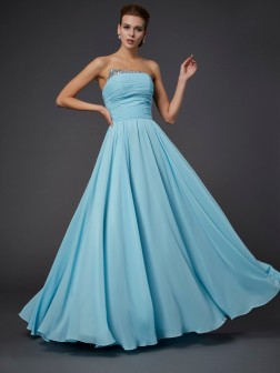 Sheath/Column Strapless Beading Sleeveless Floor-Length Chiffon Dresses