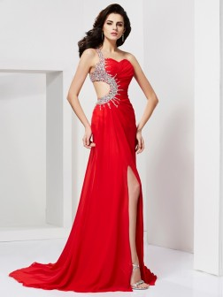 Trumpet/Mermaid Sweetheart Sleeveless Pleats Beading Sweep/Brush Train Chiffon Dresses